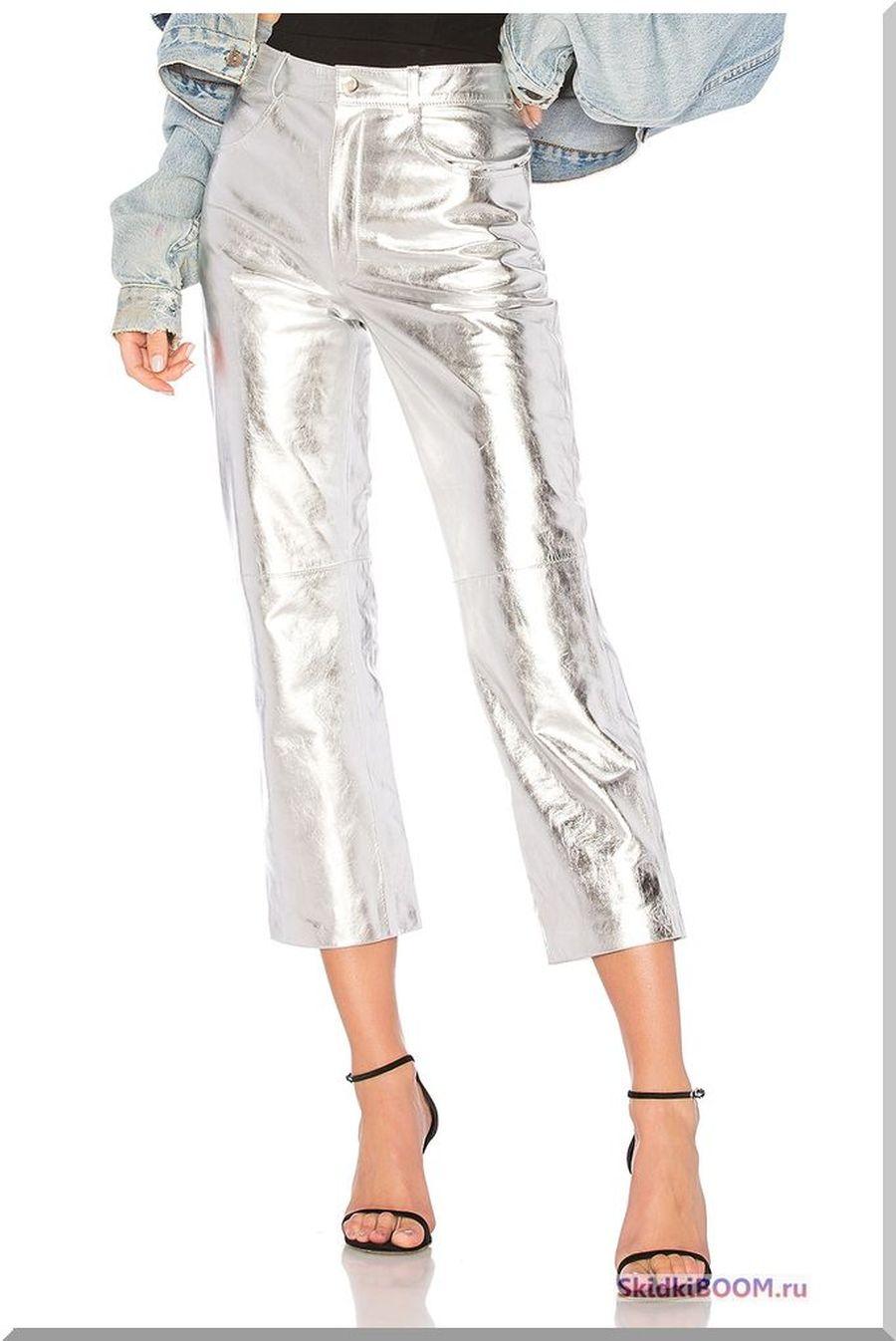 Какие женские брюки в моде - брюки цвета металлик