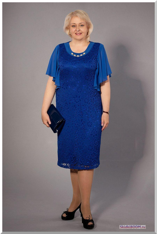 Модные платья для женщин после 50 лет - синее