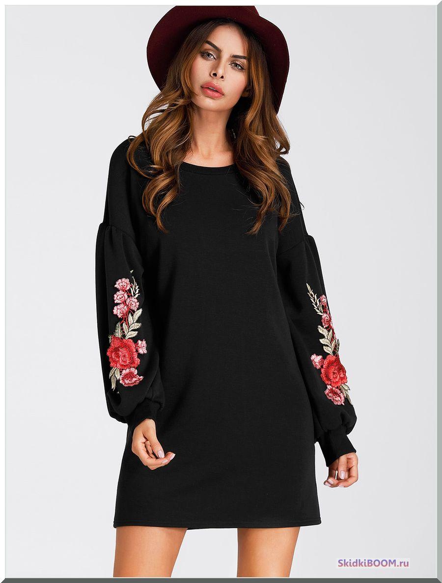 Модные тенденции платье рукава-фонарик с вышивкой