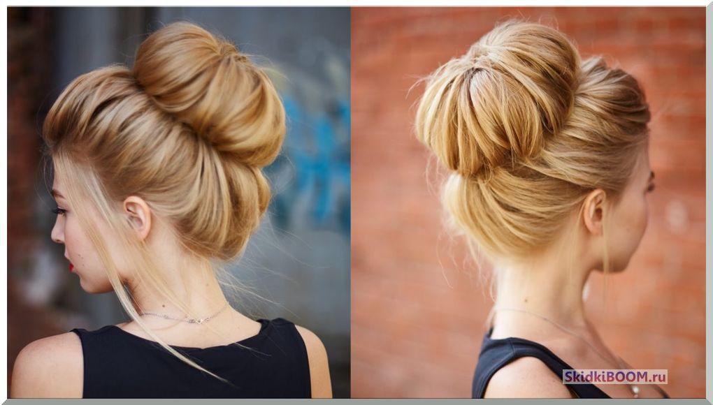 Укладка волос на средние волосы - объемный почек